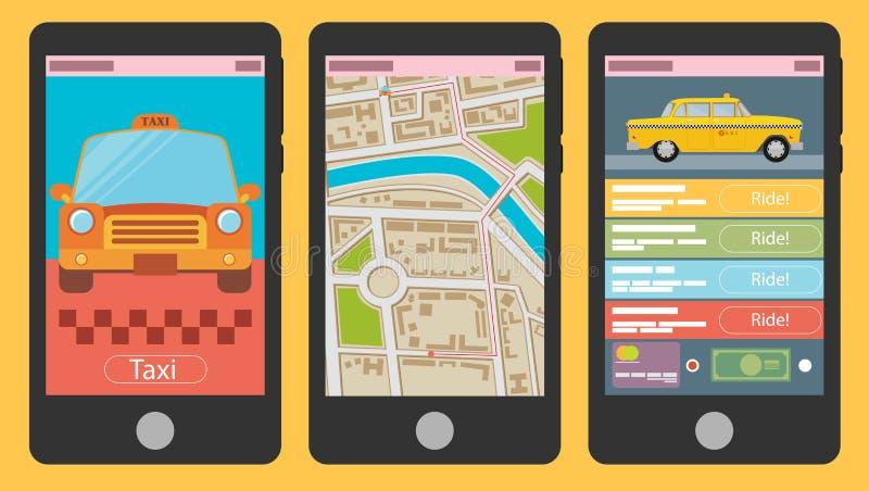 Vector иллюстрация передвижного app для записывая такси иллюстрация вектора