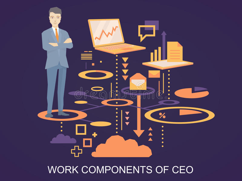Vector иллюстрация портрета CEO (главный исполнительный директор) нося wi куртки иллюстрация вектора