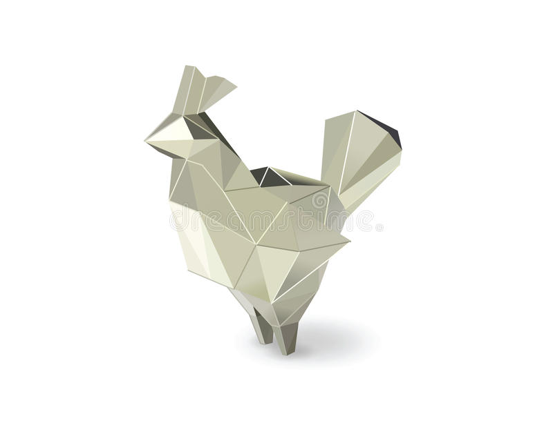 Vector иллюстрация полигональной серебряной диаграммы петуха, низкого поли животного иллюстрация штока