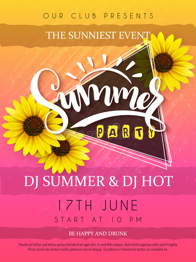 Vector иллюстрация плаката партии лета с цветками рамки и солнцецвета треугольника и текстом литерности руки - летом иллюстрация штока