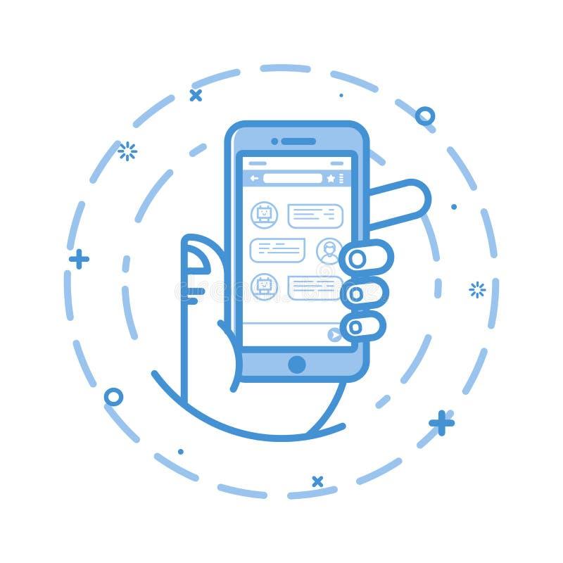 Vector иллюстрация плоской смелейшей линии руки человека держа smartphone с беседуя применением средства на экране иллюстрация штока