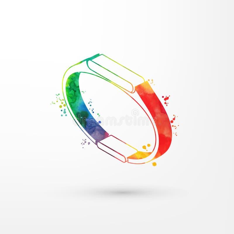 Vector иллюстрация равновеликого smartwatch акварели, красок радуги Иллюстрация отслежывателя фитнеса Современное умное иллюстрация вектора
