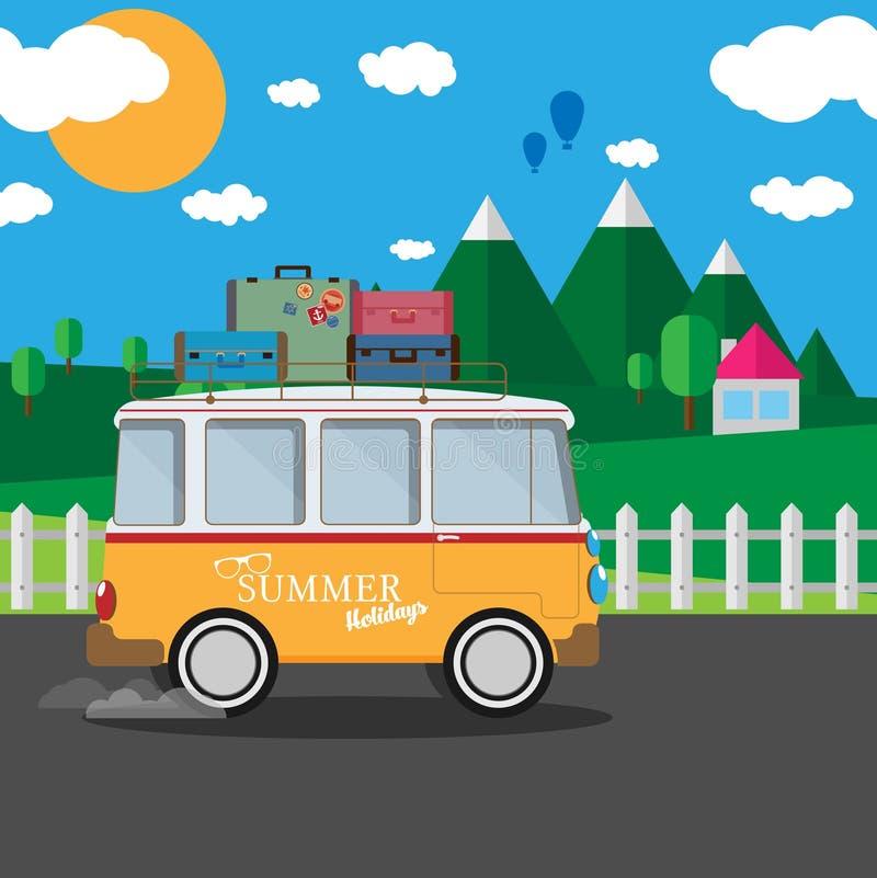 Vector иллюстрация ретро фургона перемещения с предпосылкой природы бесплатная иллюстрация