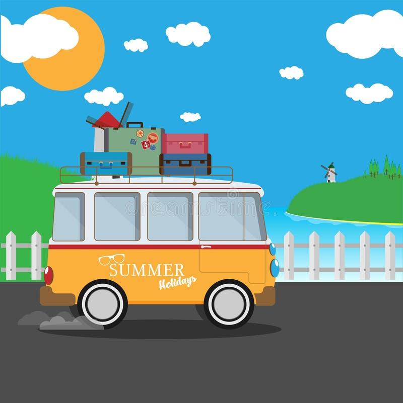 Vector иллюстрация ретро фургона перемещения с предпосылкой природы иллюстрация штока