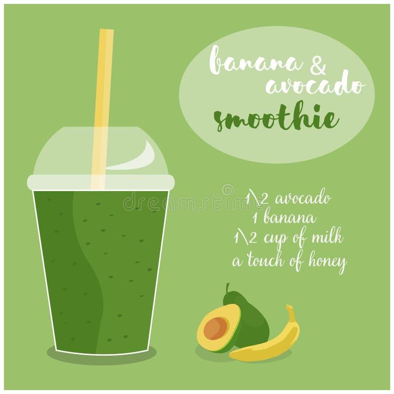 Vector иллюстрация рецепта Smoothie авокадоа и банана с ингридиентами стоковые фото