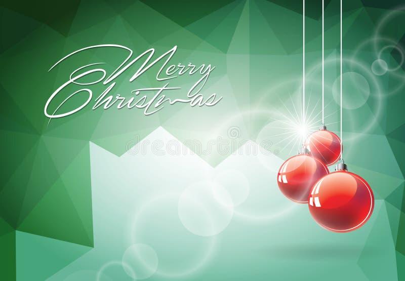 Vector иллюстрация рождества с красным стеклянным шариком на абстрактной геометрической предпосылке бесплатная иллюстрация