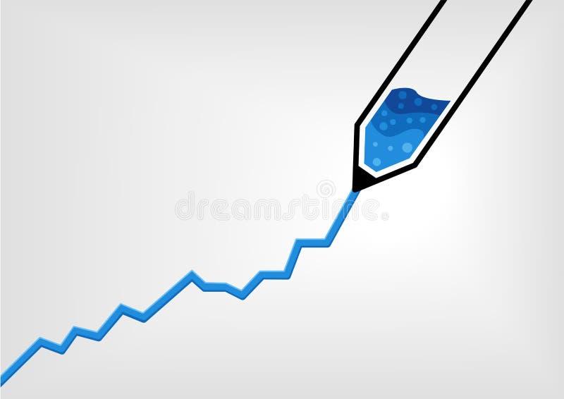 Vector иллюстрация ручки рисуя диаграмму роста дела с синими чернилами в плоском дизайне иллюстрация штока