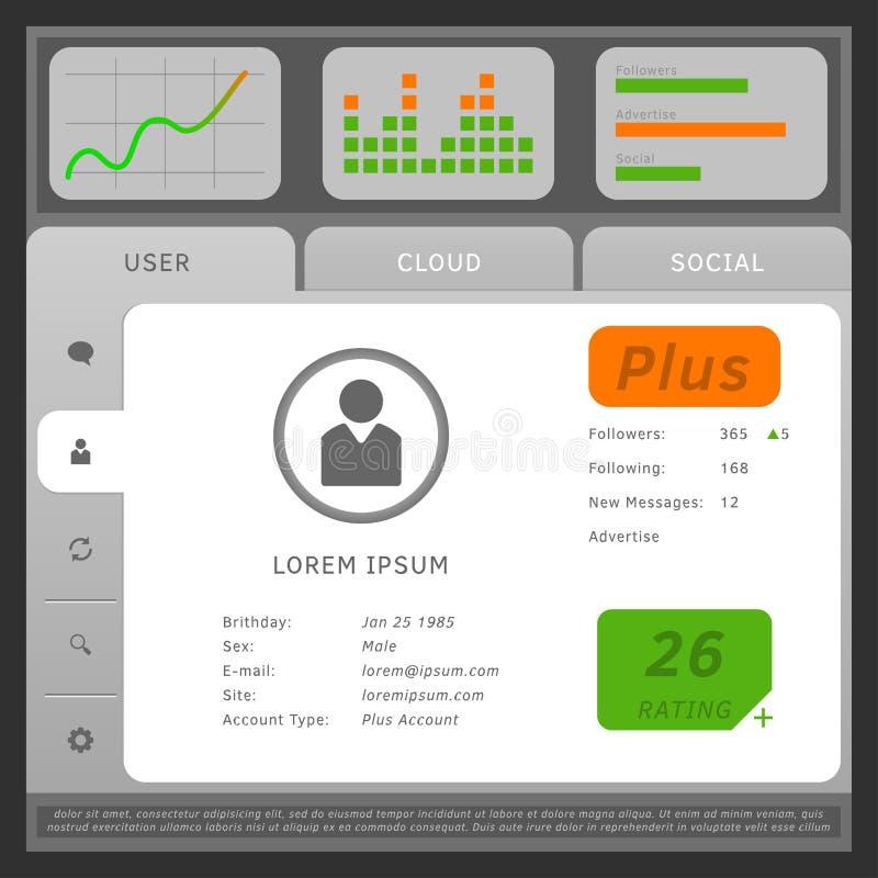 Vector иллюстрация сети или передвижного пользовательского интерфейса, с платами a иллюстрация штока