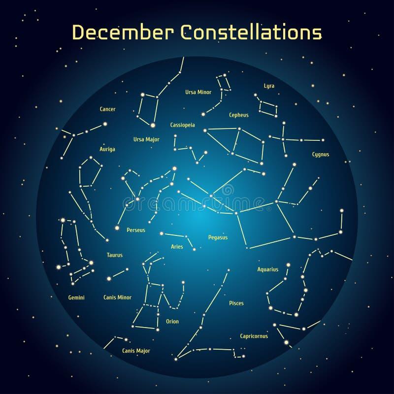 Vector иллюстрация созвездий ночного неба в Desember Накаляющ синий круг с звездами в космосе бесплатная иллюстрация