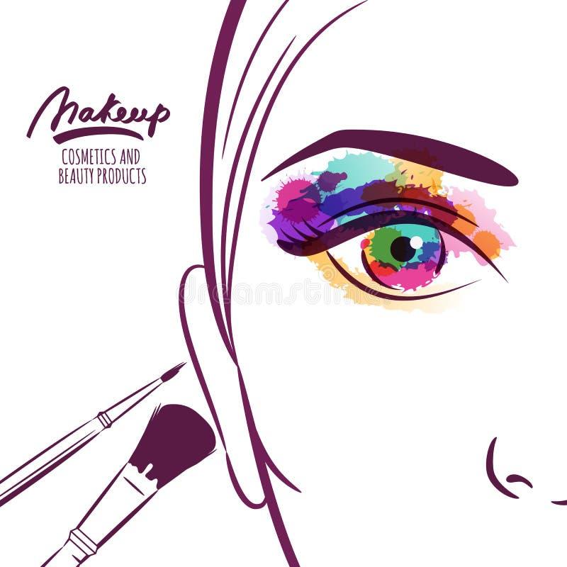Vector иллюстрация стороны молодой женщины с красочными щетками глаза и состава бесплатная иллюстрация