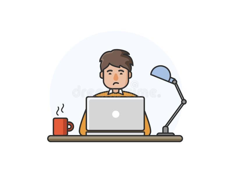 Vector иллюстрация счастливого человека работая на компьютере бесплатная иллюстрация