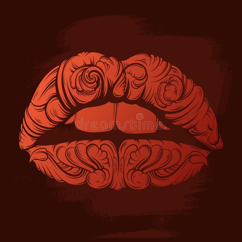 Vector иллюстрация сюрреалистических губ сделанных в стиле нарисованном рукой бесплатная иллюстрация