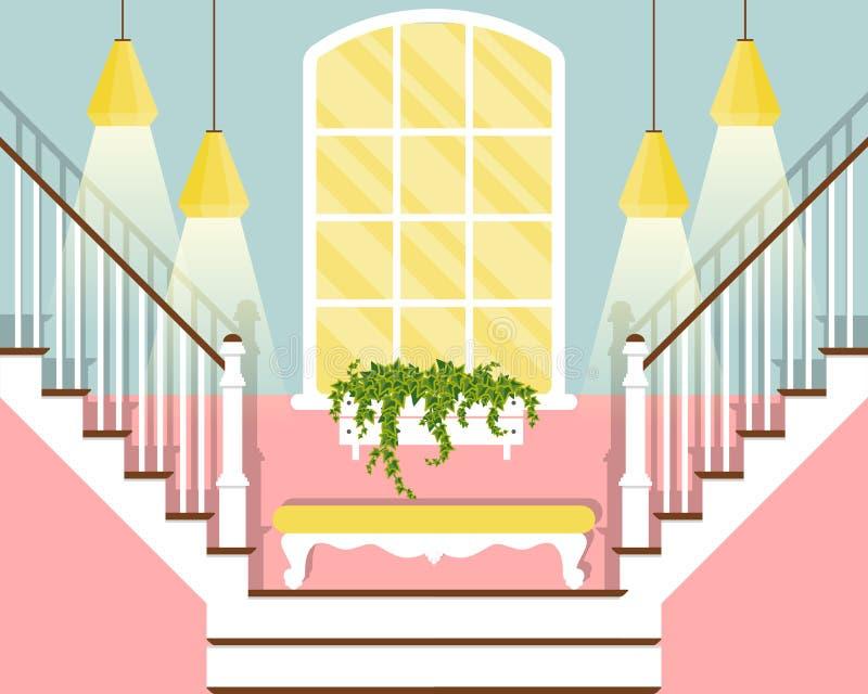 Vector иллюстрация с лестницами прихожей в плоском стиле иллюстрация штока