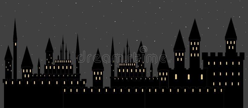 Vector иллюстрация с замками в городе ночи спать иллюстрация штока