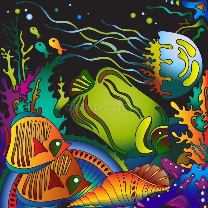 Vector иллюстрация с подводным миром тропического моря иллюстрация вектора