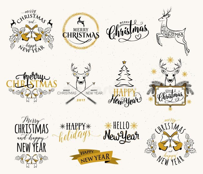 Vector иллюстрация с Рождеством Христовым и счастливого комплекта Нового Года иллюстрация штока