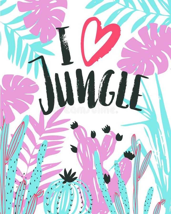Vector иллюстрация с тропическими дикими растениями и стильной литерностью - ` джунглей влюбленности ` i Плакат нарисованный руко бесплатная иллюстрация