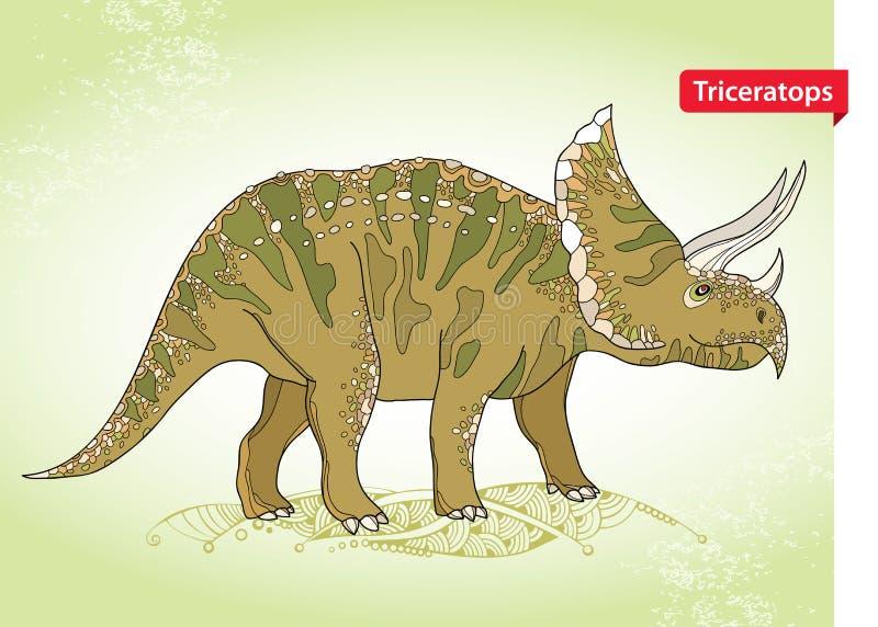 Vector иллюстрация трицератопс от семьи больших horned динозавров на зеленой предпосылке Серия доисторических динозавров бесплатная иллюстрация