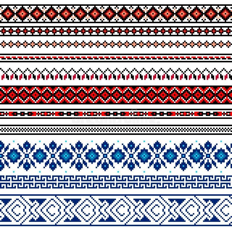 Vector иллюстрация украинского фольклорного безшовного орнамента картины этнический орнамент Элемент границы иллюстрация штока