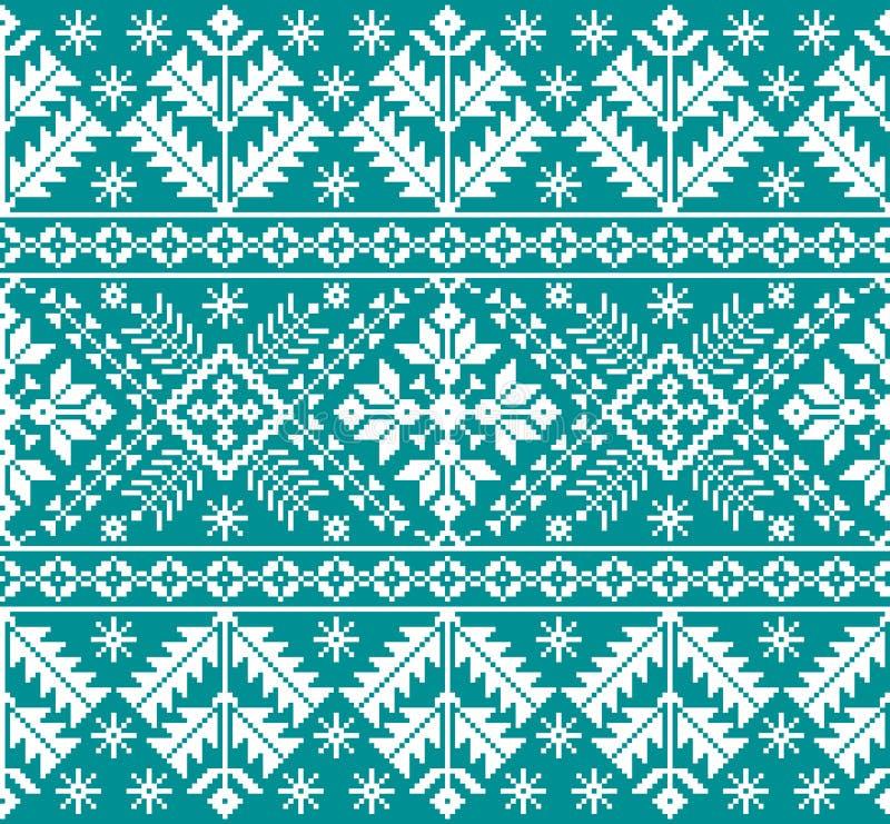 Vector иллюстрация украинского фольклорного безшовного орнамента картины этнический орнамент Элемент границы Tr бесплатная иллюстрация