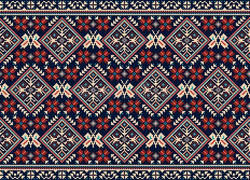 Vector иллюстрация украинского фольклорного безшовного орнамента картины этнический орнамент Элемент границы иллюстрация вектора