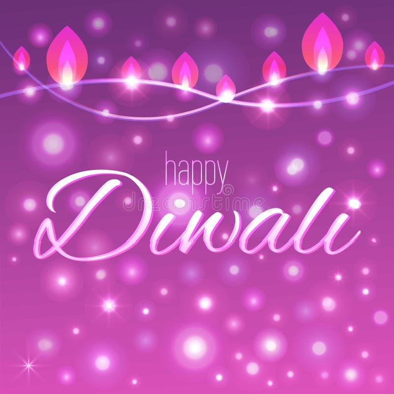 Vector иллюстрация украшенной предпосылки для Diwali с светлыми гирляндами иллюстрация штока