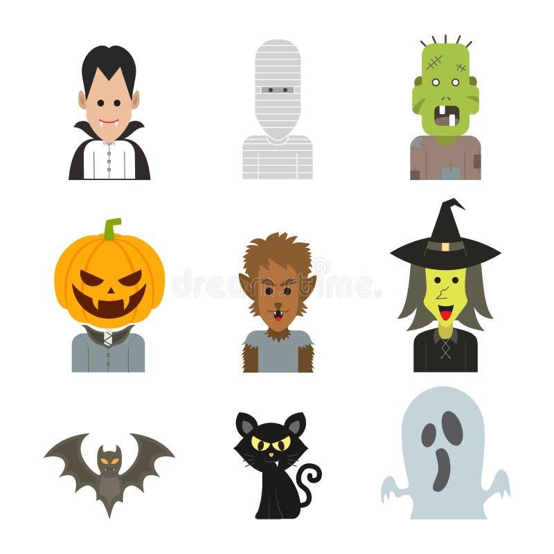 Vector иллюстрация характера значка костюма изверга хеллоуина стоковая фотография rf