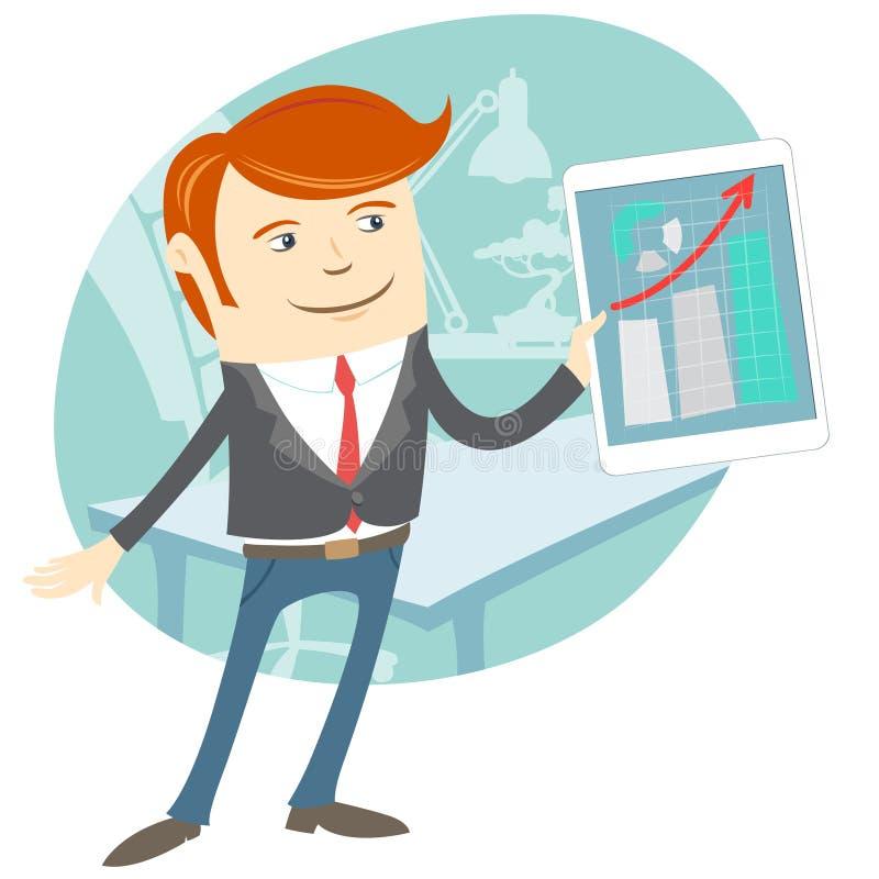 Vector иллюстрация человека офиса представляя диаграмму на таблетке бесплатная иллюстрация