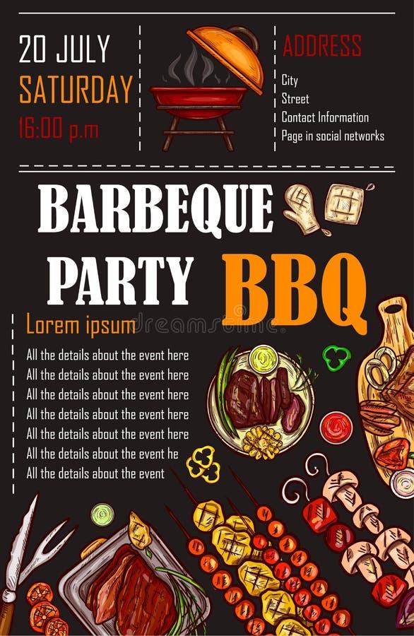 Vector иллюстрация шаблона меню bbq, карточка на барбекю, подарочный купон приглашения иллюстрация штока