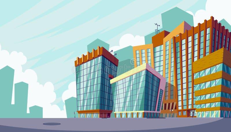 Vector иллюстрация шаржа городского ландшафта с большими современными зданиями бесплатная иллюстрация