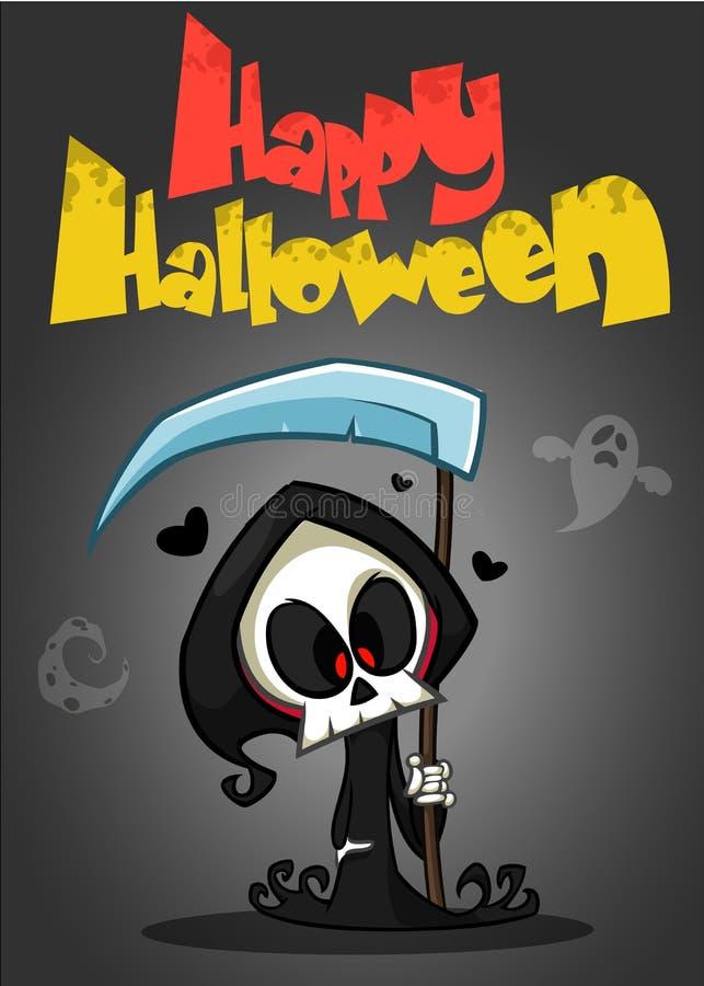 Vector иллюстрация шаржа пугающей смерти хеллоуина с косой бесплатная иллюстрация