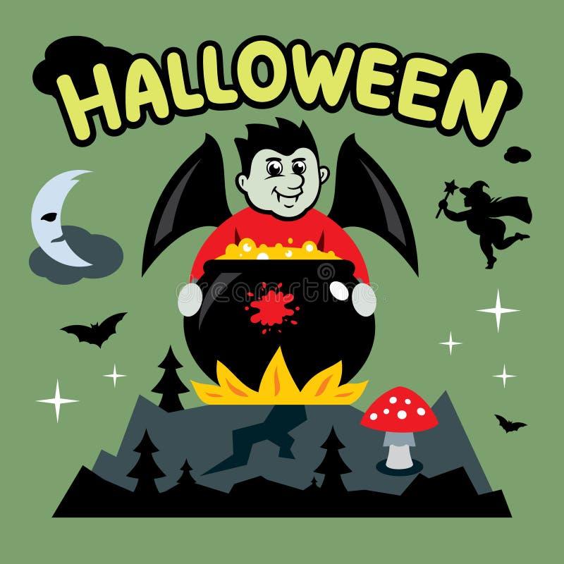 Vector иллюстрация шаржа хеллоуина, вампира и котла иллюстрация вектора