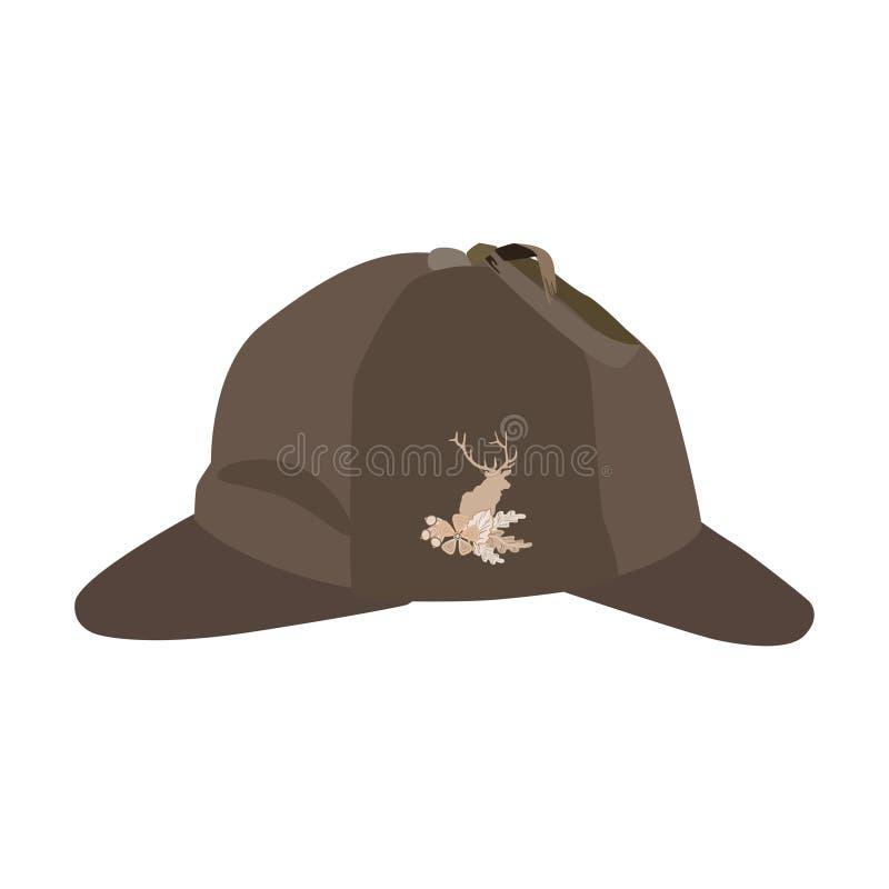 Vector иллюстрация шляпы deerstalker в плоском стиле иллюстрация вектора