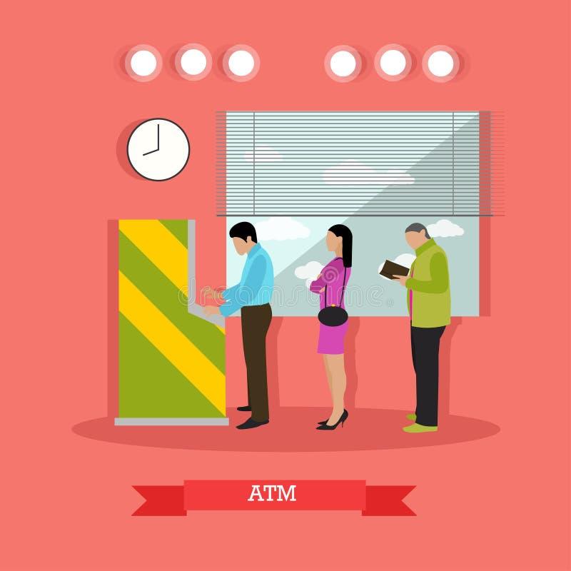 Vector иллюстрация ATM, людей стоя в очереди для наличных денег иллюстрация штока