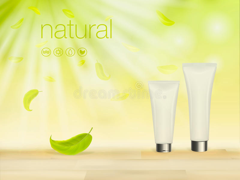 Vector иллюстрация 3D с зелеными косметическими объявлениями продукта, шаблоном состава, кожей и пакетом пробела сливк заботы тел иллюстрация вектора