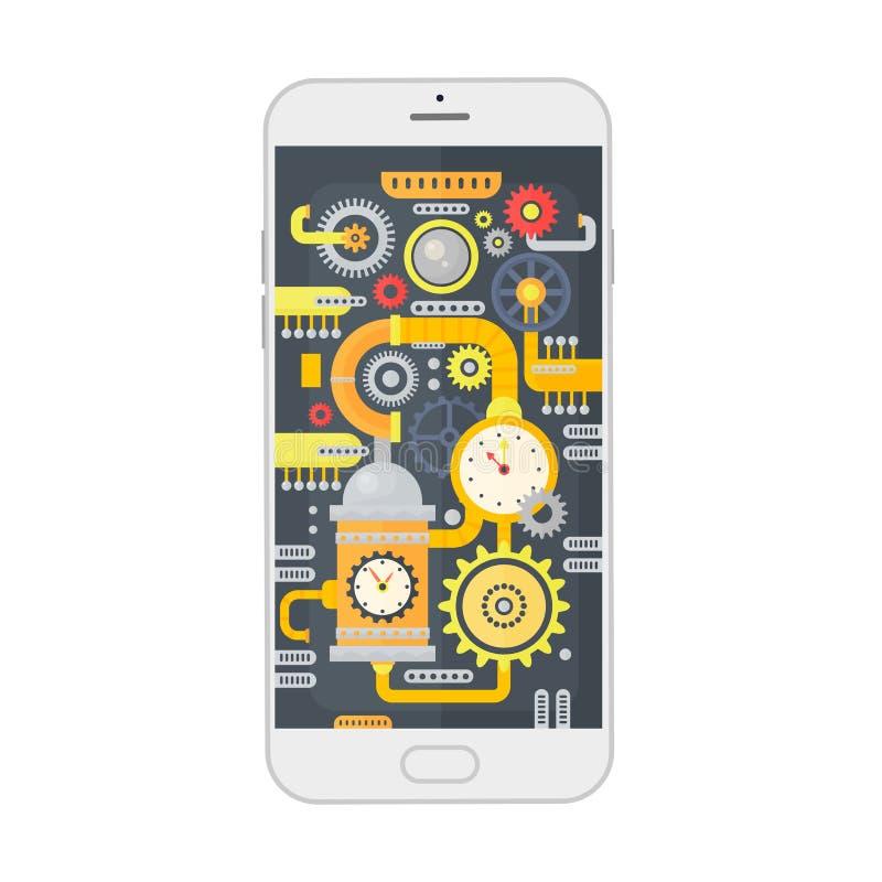 Vector иллюстрация smartphone с cogs, шестернями и масштабами различного steampunk винтажными внутрь изолированная принципиальной бесплатная иллюстрация