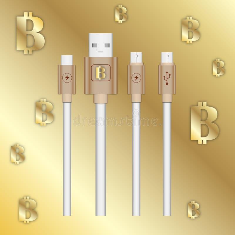 Vector кабели компьютера изображения на предпосылке золотого градиента с знаком валюты bitcoins секретной бесплатная иллюстрация