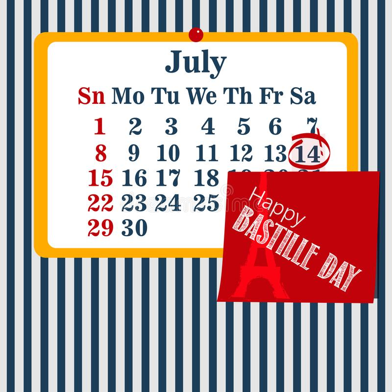 Vector календарь иллюстрации для 14-ое -го июль Счастливый день Бастилии бесплатная иллюстрация