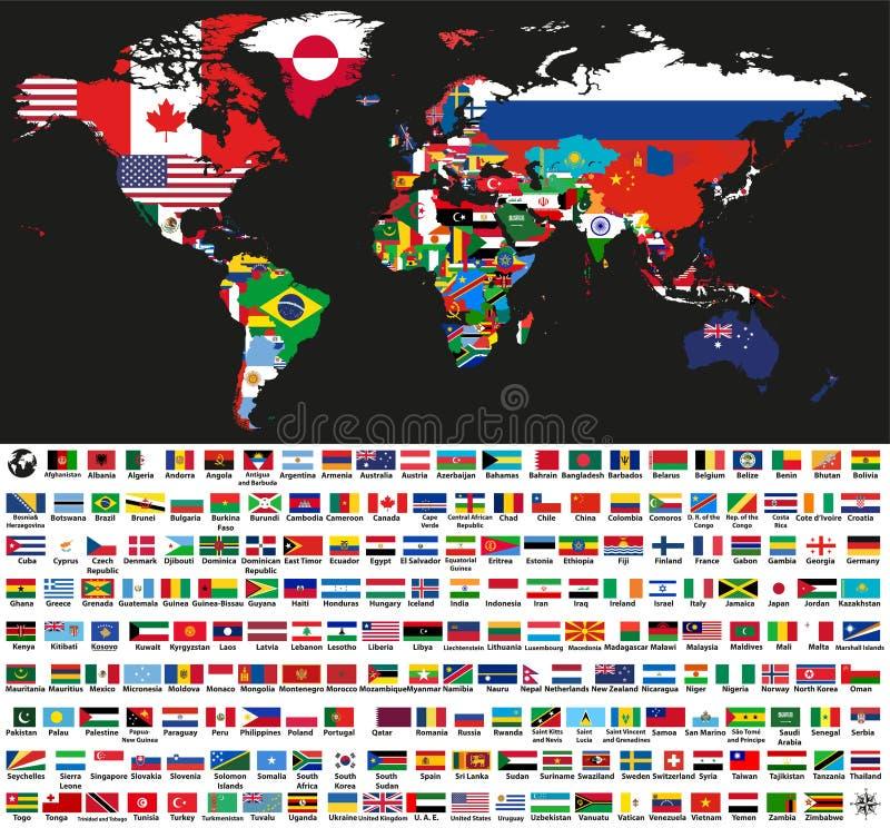 Vector карта абстрактного мира политическая смешанная с национальными флагами на черной предпосылке Собрание всех флагов мира иллюстрация вектора