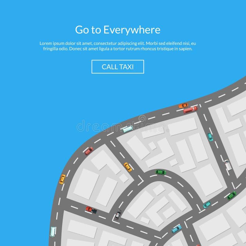 Vector карта города с иллюстрацией взгляд сверху автомобилей воздушной иллюстрация штока