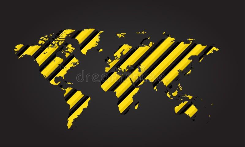 Vector карта мира желтого и черного предупреждения опасности нашивок на серой предпосылке иллюстрация вектора