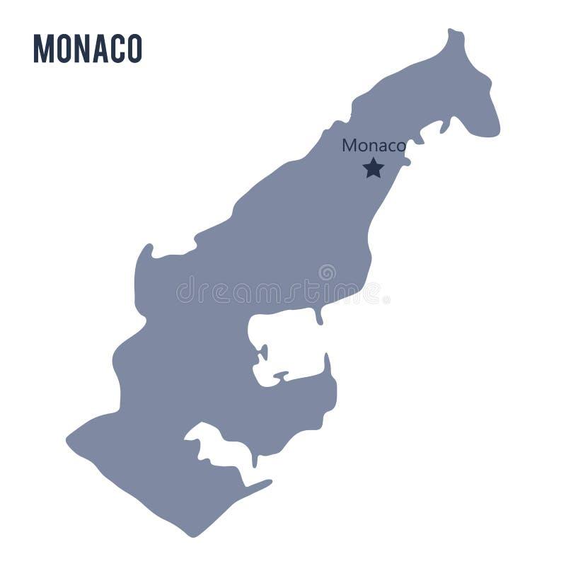 Vector карта Монако изолировал на белой предпосылке иллюстрация вектора