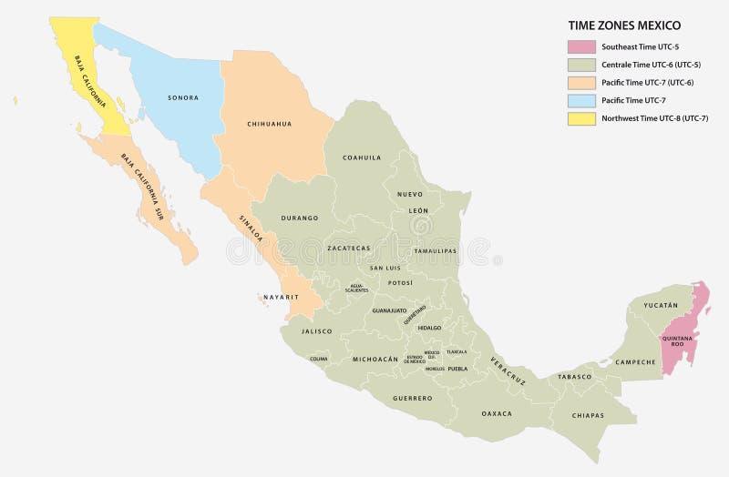 Vector карта 5 часовых поясов североамериканского положения Мексики иллюстрация вектора