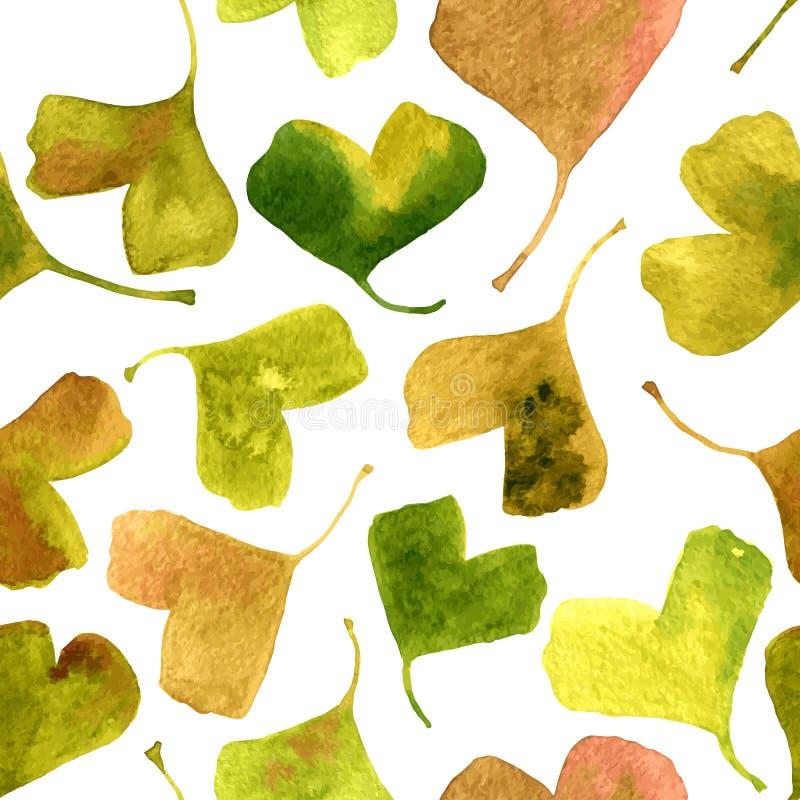 Vector картина акварели безшовная с зелеными листьями гинкго иллюстрация вектора