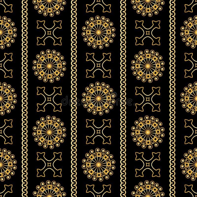 Vector картина безшовного золота винтажная орнаментальная на черной предпосылке бесплатная иллюстрация