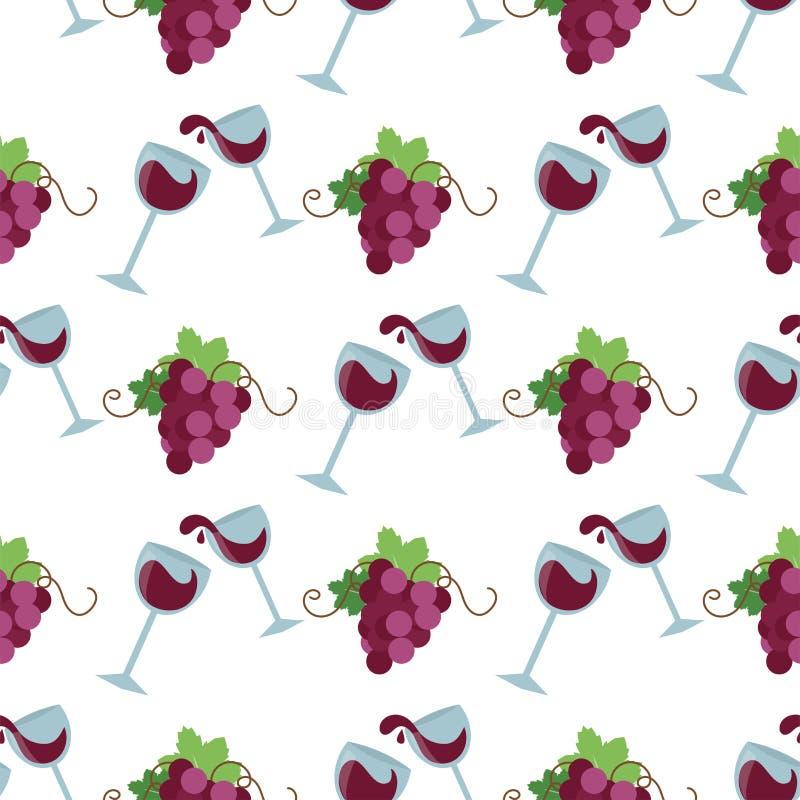 Vector картина вина безшовная с силуэтами ветви ягоды органического торжества bakground виноградины декоративной свежей иллюстрация штока