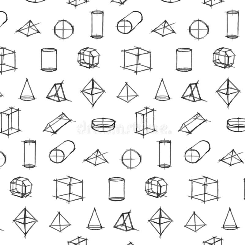 Vector картина геометрической эскиза формы нарисованного рукой на белой предпосылке стоковое изображение rf