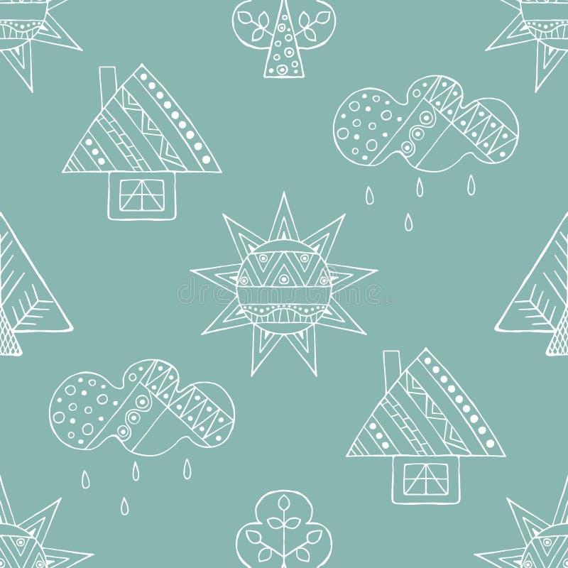 Vector картина нарисованная рукой безшовная, декоративный стилизованный ребяческий дом, дерево, солнце, облако, линия стиль дождя иллюстрация вектора