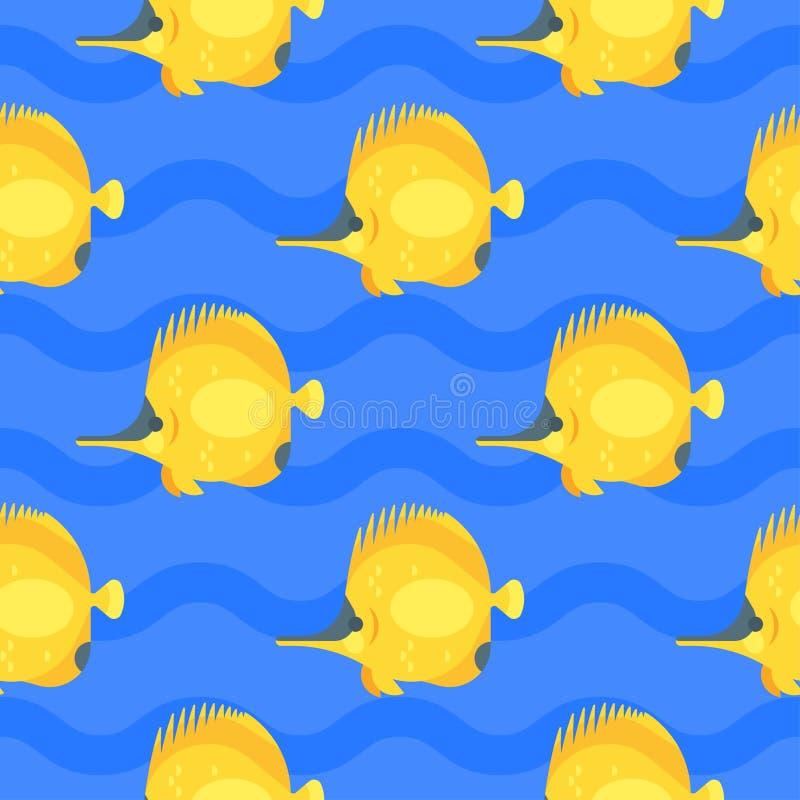 Vector картина плоского стиля безшовная с желтыми рыбами иллюстрация штока