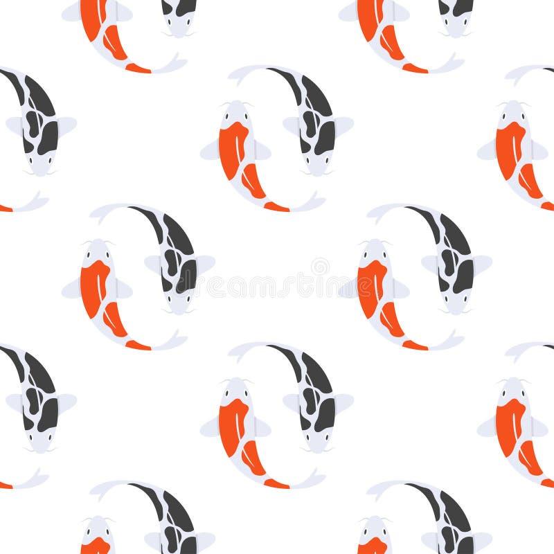Vector картина плоского стиля безшовная с японскими рыбами koi иллюстрация штока